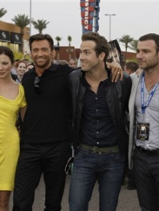 "Will.i.am, Lynn Collins, Hugh Jackman, Ryan Reynolds, Liev Schreiber and Taylor Kitsch arrive for the world premiere of ""X-Men Origins: Wolverine"" Monday, April 27, 2009, in Tempe, Ariz"