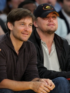 Tobey Maguire and Leonardo DiCaprio cheer on the Los Angeles Lakers as they take on Utah at Staples Center on April 27, 2009