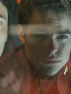 Chris Pine and Karl Urban in a scene for Star Trek