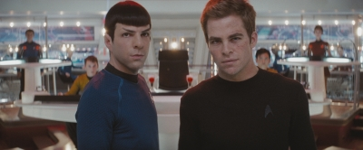 Chris Pine and Zachary Quinto in a scene for Star Trek