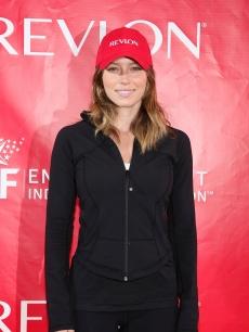 Jessica Biel gets ready for action at the 12th Annual EIF Revlon RunWalk For Women at Times Square on May 2, 2009 in New York City