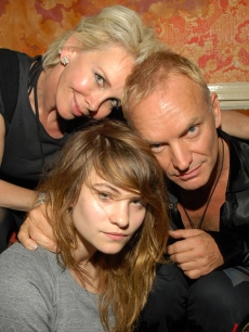 Trudie Styler and Sting with daughter Coco Sumner at the after party for The Police at The Box in NY on August 1, 2007