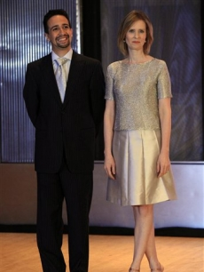 Lin-Manuel Miranda and Cynthia Nixon pose for photos before they announce the nominations for Broadway&#8217;s 2009 Antoinette Perry &#8216;Tony&#8217; Awards