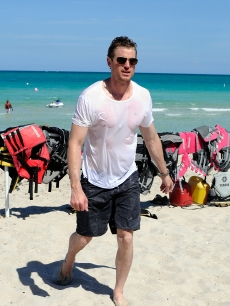 Eric Dane rides a jet ski on May 7, 2009 in Miami Beach