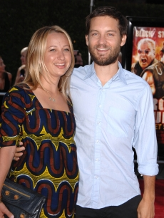 Tobey Maguire and wife Jennifer Meyer arrives at the Los Angeles Premiere Of 'Tropic Thunder' at the Mann's Village Theater on August 11, 2008 in Los Angeles, California