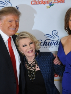 Donald Trump, Joan Rivers and Melania Trump attend 'The Celebrity Apprentice' season finale at the at American Museum of Natural History on May 10, 2009 in New York City
