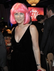 Jamie Lee Curtis rocks a pink wing inside the Noche De Ninos benefit gala in Beverly Hills, Calif. on Saturday, May 9, 2009