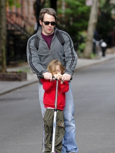 Matthew Broderick rides a scootler with his son James Wilkie Broderick to school on May 11, 2009 in New York City