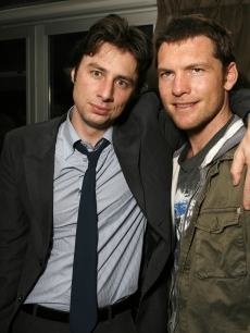 Zach Braff and Sam Worthington at the Flow in Toronto, Canada