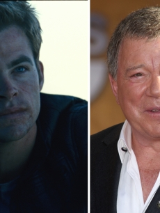 The two Captain Kirks, Chris Pine and William Shatner