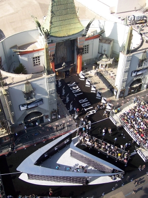 "The scene from high above the Hollywood premiere of ""Star Trek"" at Grauman's Chinese Theater on April 30, 2009"
