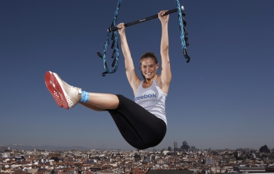 Bar Refaeli launches Reebok's and Cirque du Soleils revolutionary new workout for women, 'Jukari Fit to Fly' on May 6, 2009 in Madrid, Spain