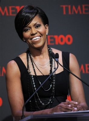 Michelle Obama gives opening remarks at the Time 100 Gala, a celebration of TIME Magazine's 100 most influential people in the world
