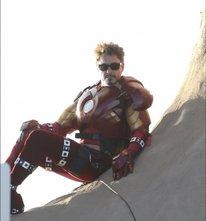 Robert Downey Jr. in costume on the set of &#8216;Iron Man 2&#8217;
