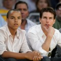 Tom Cruise and his son Connor Cruise attend Game Two of the Western Conference Finals during the 2009 NBA Playoffs between the Los Angeles Lakers and the Denver Nuggets at Staples Center on May 21, 2009 in Los Angeles