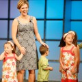 'Jon + Kate Plus 8' Kate Gosselin (L) and her children with President and CEO of TLC Angela Shapiro (R) speaking at the Discovery Upfront event at Jazz at Lincoln Center on April 23, 2008 in New York City