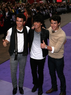 Kevin Jonas, Joe Jonas and Nick Jonas arrive for the UK film premiere of the 'Jonas Brothers The 3D Concert Experience' at Empire Leicester Square on May 13, 2009 in London, England