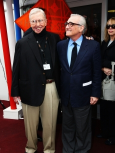 Film critic Roger Ebert and director Martin Scorsese attend the Roger Ebert Conference Center Announcement held at the American Pavillion during the 62nd International Cannes Film Festival on May 15, 2009