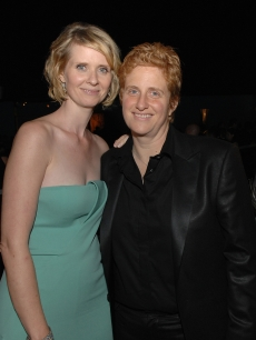 Cynthia Nixon and partner Christine Marinoni attend HBO's Post Primetime Emmy Awards Reception at the Pacific Design Center on September 21, 2008 in Los Angeles, California