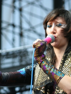 Karen O from the Yeah Yeah Yeahs performs at the KROQ Weenie Roast, May 16, 2009, Irvine, Calif.