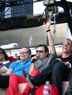 The men of Weezer wave to the fans at the KROQ Weenie Roast, May 16, 2009, Irvine, Calif.