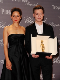 Marion Cotillard presents the award to actor David Kross at The Chopard Trophy held at the Martinez Hotel during the 62nd International Cannes Film Festival on May 18th, 2009