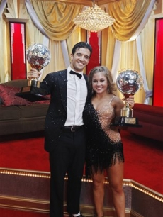 Shawn Johnson and Mark Ballas hold their trophies during 'Dancing with the Stars' finale