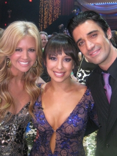 Nancy O'Dell, Cheryl Burke and Gilles Marini backstage after the 'DWTS' Season 8 finale