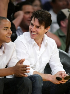 Tom Cruise and his son Connor Cruise attend Game Two of the Western Conference Finals during the 2009 NBA Playoffs between the Los Angeles Lakers and the Denver Nuggets