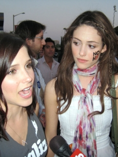 Sophia Bush and Emmy Rossum at the Prop 8 rally in West Hollywood on May 26, 2009