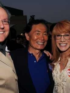 Kathy Griffin and actor George Takei and his husband Brad Altman attend the Prop 8 Rally on May 26, 2009 in West Hollywood