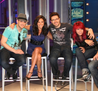 Matt Giraud, Access&#8217; own Laura Saltman, Danny Gokey and Allison Iraheta on the Access set, May 21, 2009