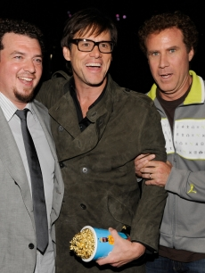 Danny McBride, Jim Carrey and Will Ferrell are seen backstage at the 18th Annual MTV Movie Awards on May 31, 2009 in Los Angeles