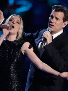 LeAnn Rimes and Chris Isaak perform onstage during the 18th Annual MTV Movie Awards
