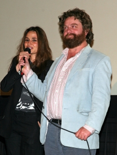 Nancy De Mayo and Zach Galifianakis speak during the 2008 AFI Fest November 1, 2008 in Hollywood, California