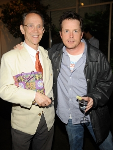 Joel Grey and Michael J. Fox attend a celebration for the release of &#8216;1.3 - Images From My Phone&#8217; at Michael&#8217;s on June 3, 2009 in New York City