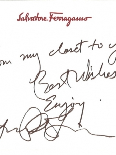 Lucy Liu penned a note to go with her Ferragamo bag