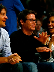 Tobey Maguire, Kevin Connely and Sophia Bush attend Game One of the 2009 NBA Finals between the Los Angeles Lakers and the Orlando Magic in at Staples Center on June 4, 2009 in Los Angeles