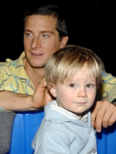 Bear Grylls and son Marmaduke play at the Hard Rock Cafe's celebration for the STEP Up campaign on November 6, 2007 in New York City