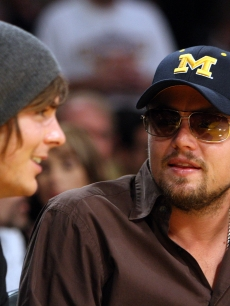 Leonardo DiCaprio and Zac Efron attend Game Two of the 2009 NBA Finals between the Los Angeles Lakers and the Orlando Magic at Staples Center