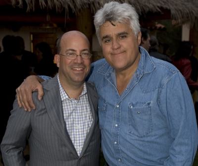 Jeff Zucker and Jay Leno at the party following Jay&#8217;s final &#8216;Tonight Show&#8217; taping, May 29, 2009