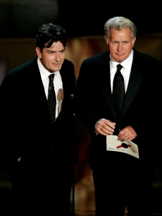 Charlie Sheen and Hollywood dad Martin Sheen present an award onstage at the 58th Annual Primetime Emmy Awards  on August 27, 2006 in Los Angeles