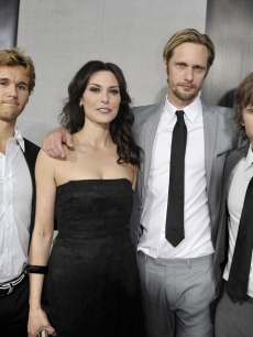 Ryan Kwanten, Michelle Forbes, Alexander Skarsgard and Sam Trammell strike a pose at the premiere of the 2nd season of HBO's 'True Blood' on June 9, 2009 in LA
