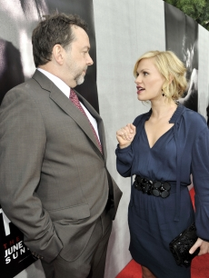 Creator/producer/director Alan Ball and Anna Paquin chat on the red carpet at the premiere of the 2nd season of HBO&#8217;s &#8216;True Blood&#8217; on June 9, 2009 in LA