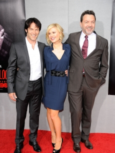 Stephen Moyer and Anna Paquin pose with the show creator Alan Ball at the Premiere Of HBO&#8217;s &#8216;True Blood&#8217; 2nd Season at Paramount Studios on June 9, 2009 in Hollywood