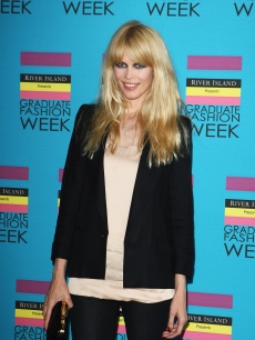 Claudia Schiffer makes a fashionable entrance at the Gala Show and Awards of Graduate Fashion Week 2009 at Earls Court on June 10, 2009 in London