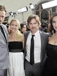 Alexander Skarsgard, Anna Camp, Sam Trammell and Michelle Forbes pose at the premiere of the 2nd season of HBO's 'True Blood' at the Paramount Theater on June 9, 2009 in Los Angeles