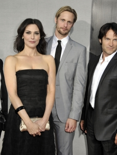 Ryan Kwanten, Michelle Forbes, Alexander Skarsgard, Stephen Moyer and Sam Trammell  strike a pose at the premiere of the 2nd season of HBO's 'True Blood' in Los Angeles