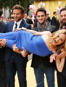 Todd Phillips, Bradley Cooper, Justin Bartha, Zach Galifianakis and Heather Graham attend the UK Premiere of 'The Hangover'
