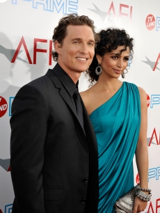 Matthew McConaughey and Camila Alves arrive at the AFI Life Achievement Awards: A Tribute to Michael Douglas at Sony Pictures Studios